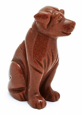 Dog Red Goldstone Hand Carved Gemstone Animal Totem Statue Stone Sculpture