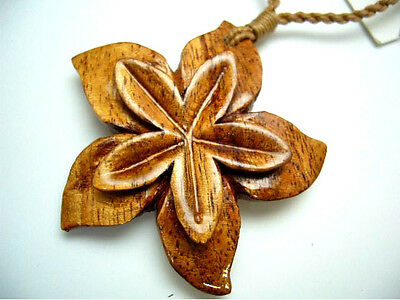 NEW Genuine Koa Wood Hawaiian Jewelry Flower Pendant Choker/Necklace  # 45067