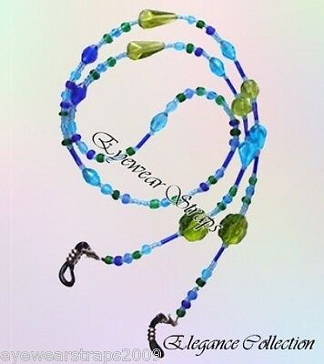 NEW Stunning Blue & Green Glass Beaded Glasses / Sunglasses Chain Strap Holder