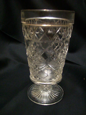 Mint Vintage Hazel Atlas Big Top Peanut Butter Water Goblet Gothic Pattern
