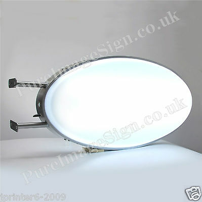 """Projecting 2 Sided Message  Illuminated Oval Light Box Sign 50x100cm 20""""x40"""""""