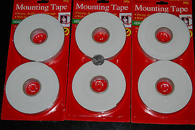 """Lot Of 6 Rolls Double Face Mounting Foam Tape 0.75"""" x 120""""Free Shipping"""