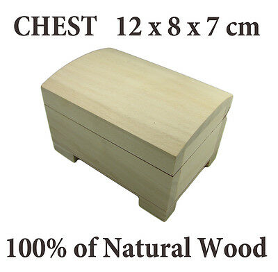 Plain Wood BOX 100% Natural Wooden CHEST 12 x 8 x 7cm, Decoupage FREE EUROPE P&P