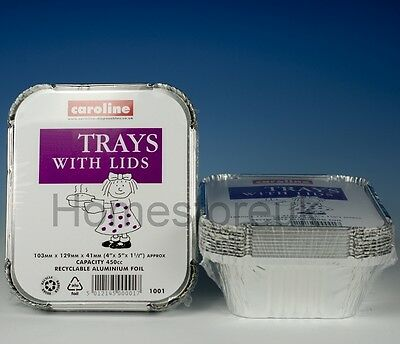40 Aluminium Tin Foil Baking Dish Trays Food Hot Curry Container With Lids 1001