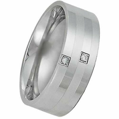 Flat Pure Titanium Wedding Band Ring w/ Matte & Polished Strips 2 Clear Stones