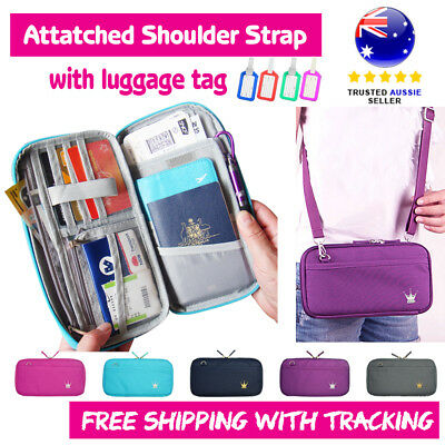 Travel Wallet  Zip Case Passport Phone Holder Organizer Coin Bag with Strap