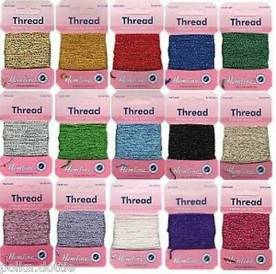 10 m Glitter Metallic Thread  Choice of 15 Colour Gold Silver Red Blue & More