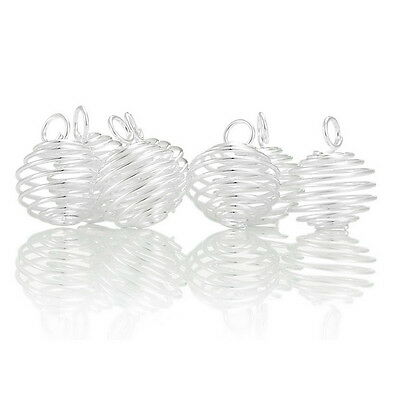 50 PCs POP Silver Plated Spiral Bead Cages Pendants Findings