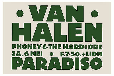 Van Halen at World Famous Paradiso in Amsterdam Concert Poster Circa 1978