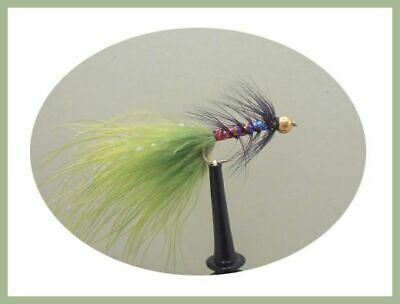 Trout Flies, Lures, 6 Pack, Olive Dancer, Size 10. For Fly Fishing