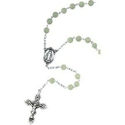 MRT .925 Sterling Silver Rosary Mint Green Jade Beads Catholic Holy Gift W Pouch