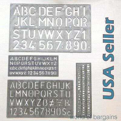 "4 piece SET 1-1/8"" Alphabet Letters & Numbers Stencils Plastic YOU CHOOSE COLOR"