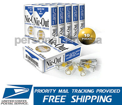 10 Packs - NIC-OUT Super Cigarette Filters Less Tar - Stop Smoking Aid