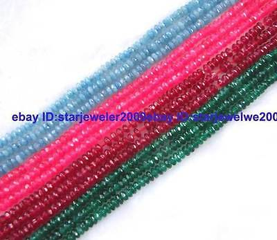 """2x4mm Jade Rondelle Faceted Gemstone small Beads 15"""""""