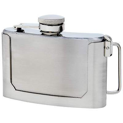 3 oz Stainless Steel Belt Buckle Flask Screw Cap Concealed Carry Alcohol Whiskey
