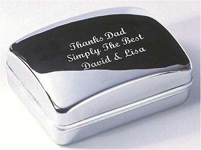 Personalised Chrome Cufflink Case with FREE Engraved Message (XDCB)