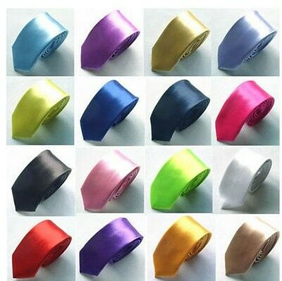 """Mens Casual Formal QUALITY Plain SKINNY SILK TIE  ~ Solid Colour Ties ~2"""" / 5cms"""