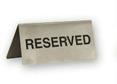 """""""RESERVED"""" Table Sign x 6 Stainless Steel"""
