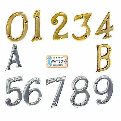 """3""""/75mm or 2""""/51mm Numerals House Door Numbers Chrome Brass 0 1 2 3 4 5 6 7 8 9"""