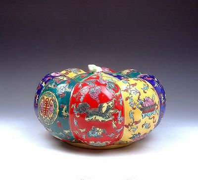 *Ship From U.S* Famille-Rose Long Life Peaches Foo Dogs Hand Painted Pumpkin Jar