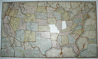 Antique 1907 Rand Mcnally Childrens Toy Puzzle Historical Map Usa North America