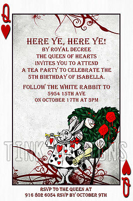 Alice in Wonderland invitations Custom personalized baby shower birthday party