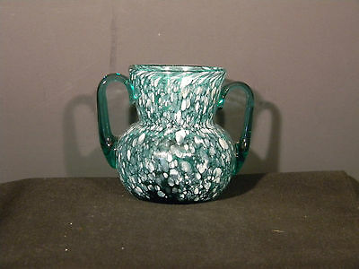 Spatter Glass Blue Green n white  over 2 inches high  (2930)