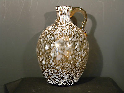 Spatter Glass Brown n white  6 inches high  (2935)