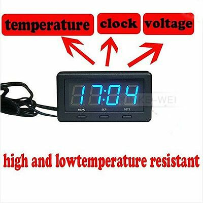 3 in 1 Blue Led Car Thermometer Clock Voltage Temperature + Reflecting film