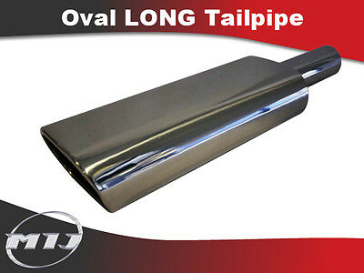 Oval Universal Stainless Steel Exhaust Long Baffled Tailpipe TP-OV-L-4