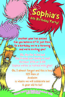 LORAX birthday invitation party favor dr. Seuss The