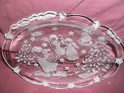 Mikasa Holiday Classic Oval Frosted Glass Sweet Dish Angels Decorating Xmas Tree