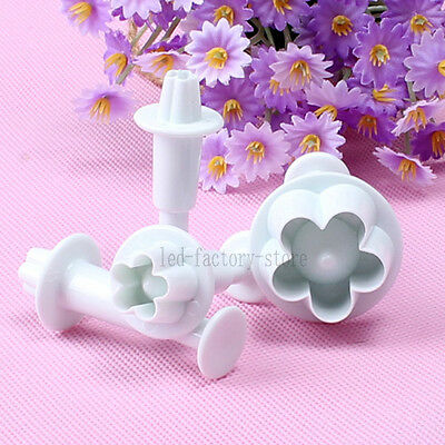 4x Cake Biscuit Cookies Decorating Plum Flower Fondant Plunger Cutter Tool Mould