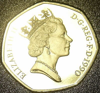 Great Britain 5 Pence 1990 Cameo Proof~Large Type~100,000 Minted~Free Shipping