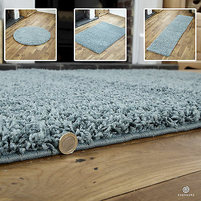 Duck Egg Blue Small X Extra Large Modern Rug - Thick 5Cm High Pile Shaggy Rugs