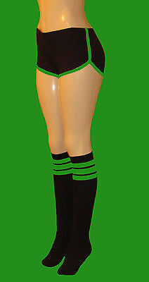 2c35542ac86 Black Retro Shorts w green Trim   black kneehigh socks w neon green stripes