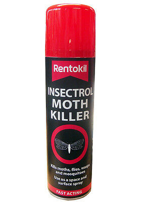 Rentokil Fast Acting Insectrol Moth Killer Spray 250ml - Use on Moths, Flies etc