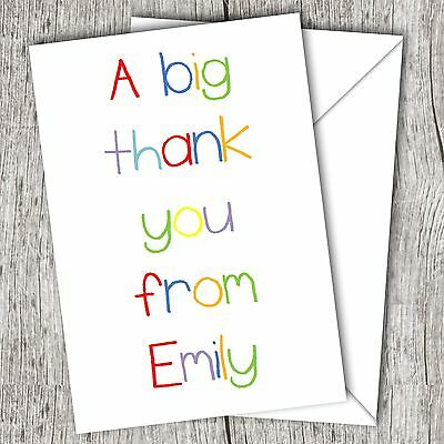 Personalised Folded Thank You Cards ~ Boys/Girls/Childrens ~ Crayon