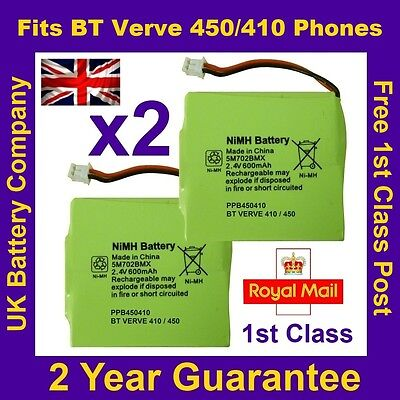 2 X 5M702Bmx Bt Verve 410 450 Cordless Phone Batteries 2.4V 600Mah Nimh New Uk