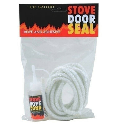 Gallery Stove Woodburner Door Rope Seal Kit Includes Rope and Adhesive 6mm x2.5m