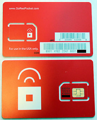 2 x US Prepaid Red Pocket Mobile Sim Card. use AT&T Go phone & GSM network