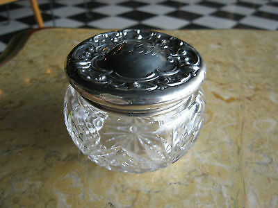 Antique Cut Glass Jar w/ Wm Bens Sterling Silver Lid w/ Floral Decoration