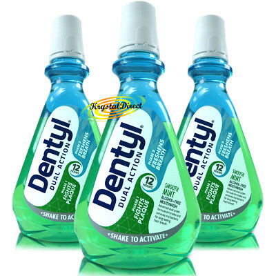 3x Dentyl Active Alcohol Free Mouthwash Smooth Mint Rinse 500ml Plaque Fighter