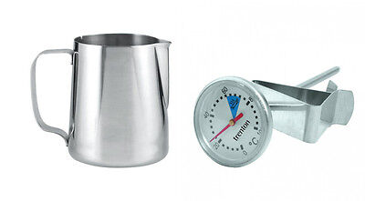400ml Espresso Coffee Stainless Steel Jug & Milk Frothing Thermometer