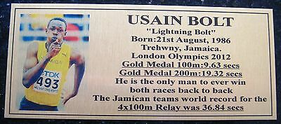 Athletic's USAIN BOLT Gold  Medallist London Olympis Sublimated Plaque