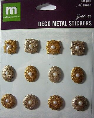 NEW 12 pc DECO METAL STICKERS GOLD Glitter Flowers Shapes MAKING MEMORIES 3D