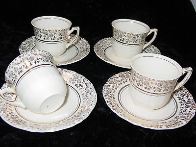 Vintage Alfred Meakin Demitasse Cup and Saucer Sets English Ivory/Gold (4)