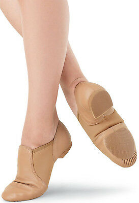 Soft Leather Slip On Jazz Dance Shoes All Sizes Tan N Black - Quality Assured