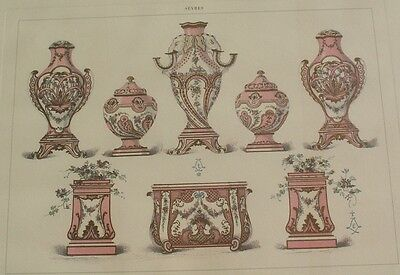 Studies of Sevres Soft Porcelain, 8 Pieces, Pink/Salmon, Glass Framed Print.