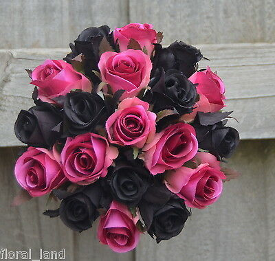 Silk wedding bouquet pink black roses pre made posy bouquets artificial rose